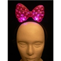 Light Up Head Band Pink Flashing Bow